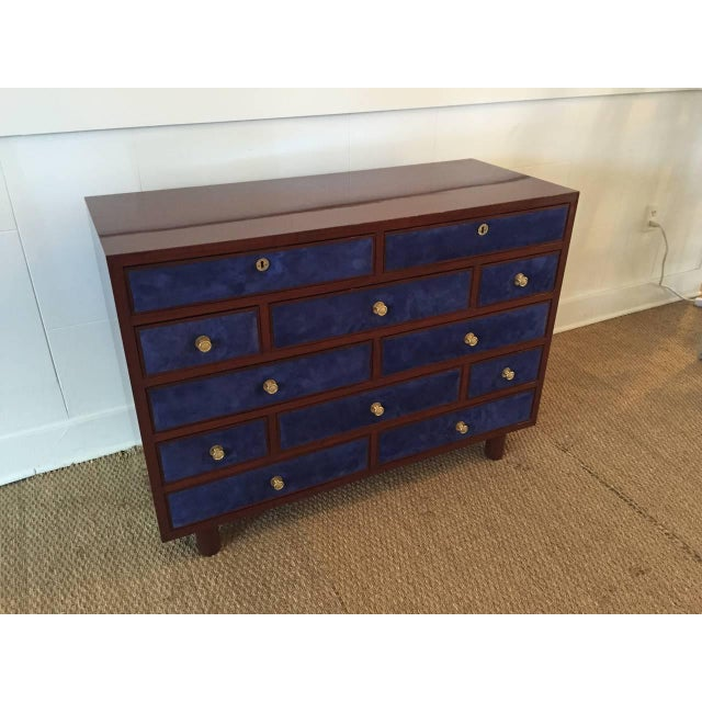 Empire Maison Jansen Chest of Drawers with Blue Suede and Gold-Plated Pulls For Sale - Image 3 of 6