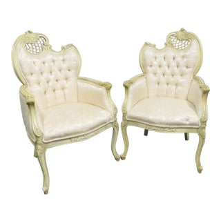 Louis XV Style Carved Cream Chairs- a Pair For Sale