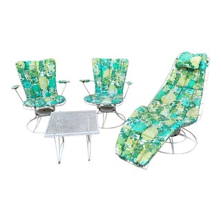 1960's Homecrest Patio Furniture Set - Siesta Chaise Lounger Lounge Chair + 2 Chairs + 3 Original Cushions + Table For Sale