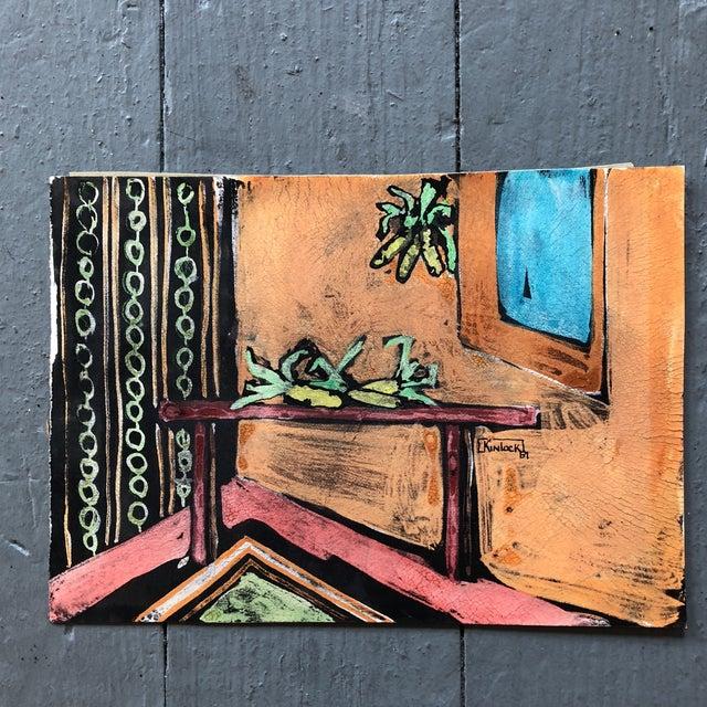 "Red Collection 11 Original Vintage Gouache Paintings ""Sur La Table"" For Sale - Image 8 of 13"