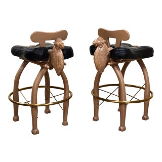 Mid Century Moroccan Camel Bar Stools - a Pair For Sale