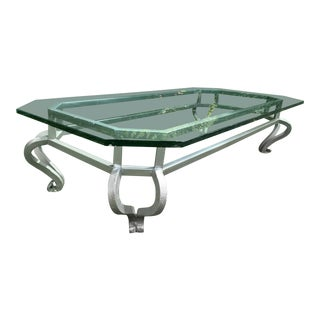 Mid-Century Modern Gun Metal Gray Iron and Glass Coffee Table For Sale