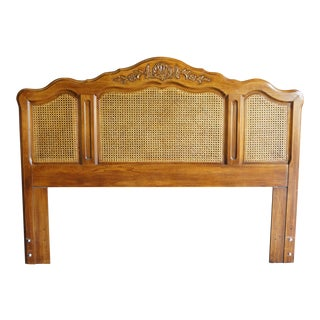 Late 20th Century French Provincial Inspired Queen/Full Cane Headboard For Sale
