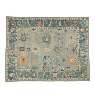 Oversized Turkish Oushak Rug With Coastal Bliss Vibes - 12'00 X 15'07 For Sale