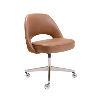 Saarinen Executive Armless Chair in Saddle Leather & Suede, Swivel Base