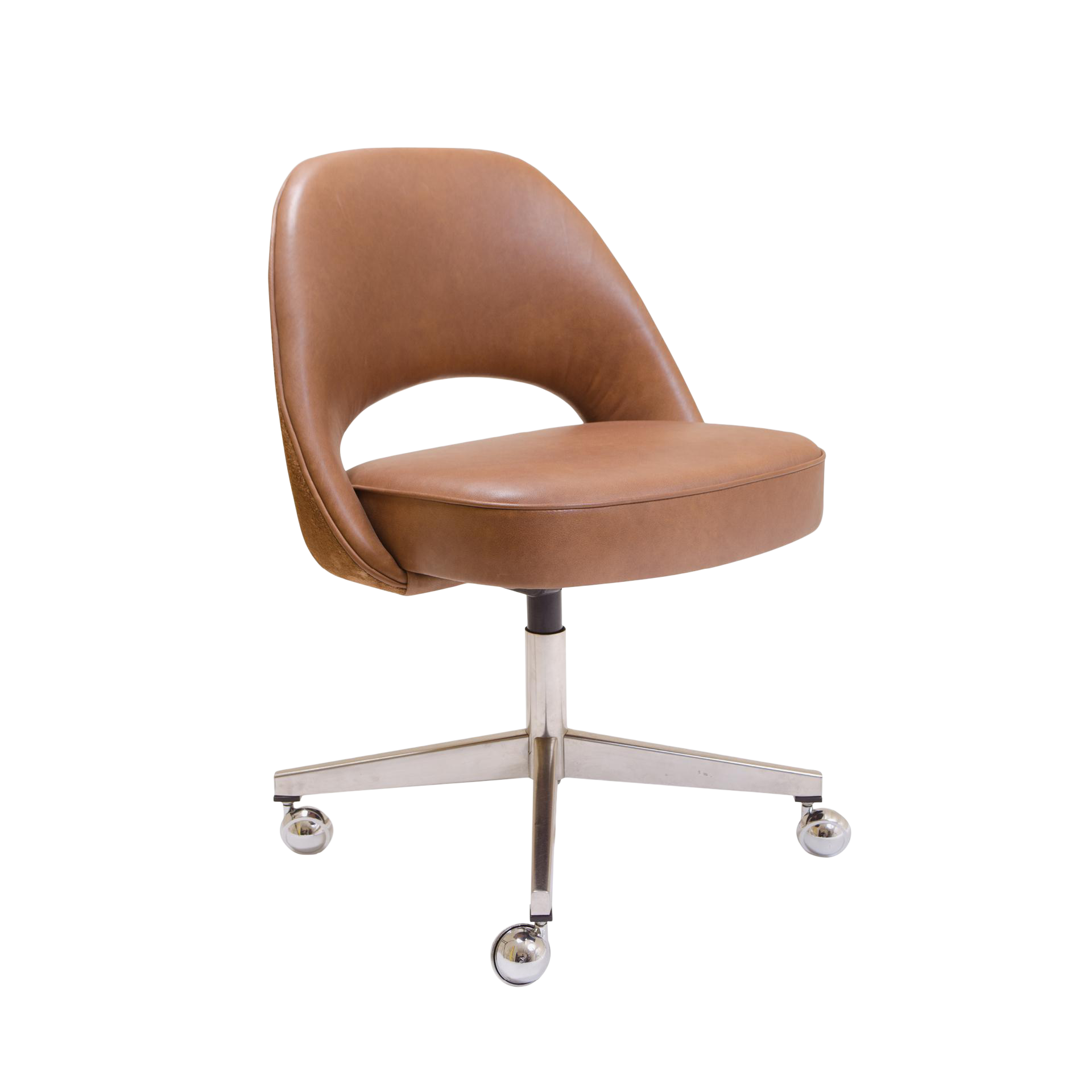 Saarinen Executive Armless Chair In Saddle Leather U0026 Suede, Swivel Base For  Sale