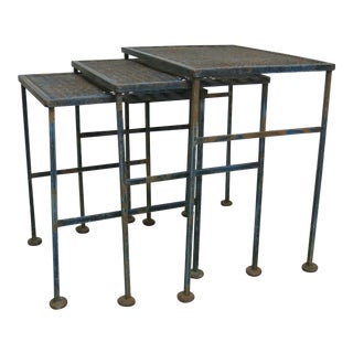Vintage Distressed Blue Iron Nesting Tables - Set of 3 For Sale