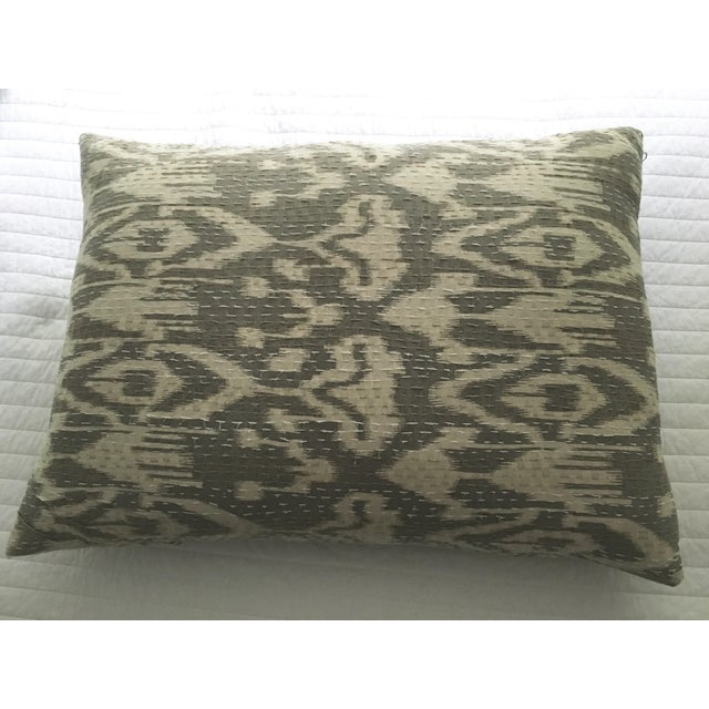 Fabulous ikat Indian textile pillow with contrast stitching in neutral palette. Down insert included.