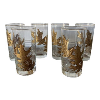 Mid-Century Gold Leaf Highball Glasses- Set of 6 For Sale