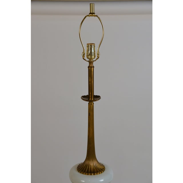 Asian Elegant Gilt Bronze and Opaline Tassel Lamp in the Style of Tony Duquette For Sale - Image 3 of 10