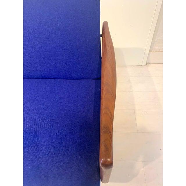Blue Mid Century Modern Peter Hvidt and Orla Mølgaard for John Stuart Teak & Cane Back Sofa For Sale - Image 8 of 13