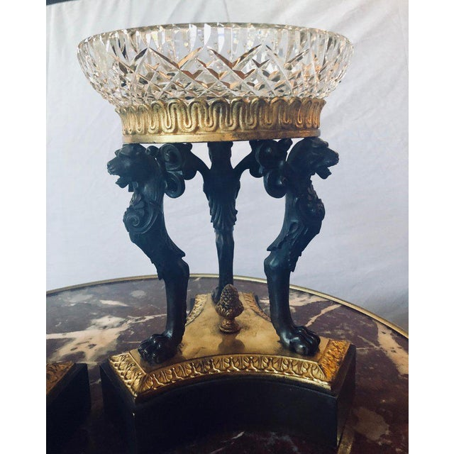 Empire Pair of Empire Figural Tazzas / Compotes Doré and Patinated With Cavan Crystal For Sale - Image 3 of 12