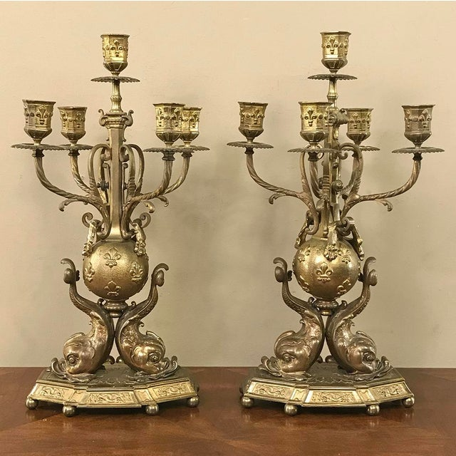 Pair 19th Century French Renaissance Dolphin Candelabra For Sale In Dallas - Image 6 of 13