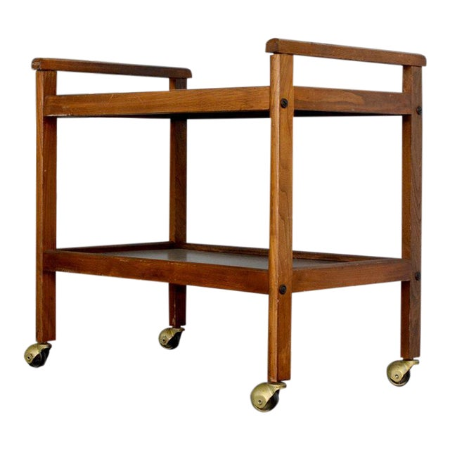Walnut Two-Tiered Bar Cart - Image 1 of 11