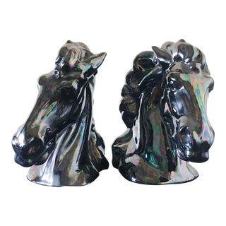 Ceramic Horse Heads - A Pair For Sale