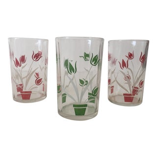 Vintage Tulip Multicolor Juice Glasses - Set of 3