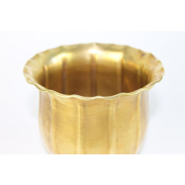 Scalloped Brass Bowl or Vase - Image 3 of 6