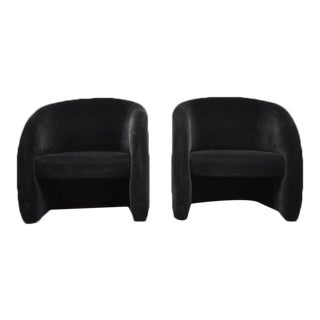 Brueton Barrel Lounge Chairs in Black Leather