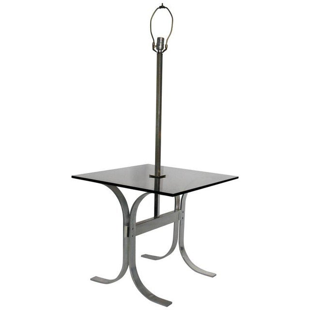 Chrome Mid-Century Modern Side Table With Built in Lamp For Sale - Image 8 of 8