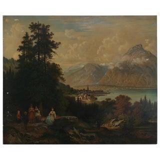 Large Antique Hudson River School Oil on Canvas Landscape Painting, Circa 1900 For Sale