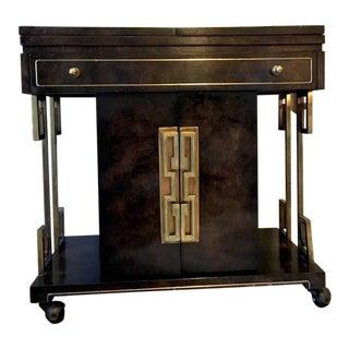 Mid Century Mastercraft Greek Key Burl Wood Bar Cart For Sale