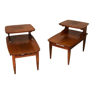 Walnut Mid-Century Modern 2-Tier End Tables - a Pair For Sale