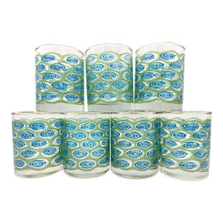 Mid-Century Libbey Blue and Green Peacock Pattern Double Old Fashion Glasses - Set of 7 For Sale