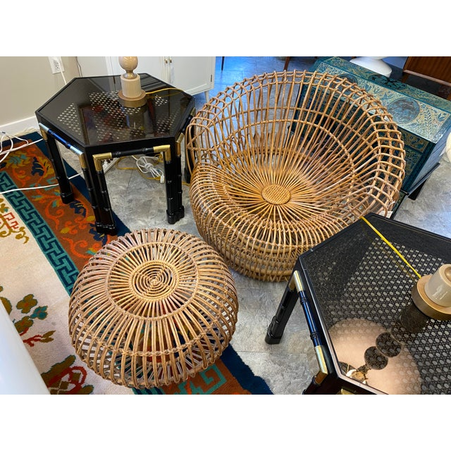 Mid-Century Modern Original Franco Albini Wicker Rattan Chair and Ottoman - a Pair For Sale - Image 3 of 13