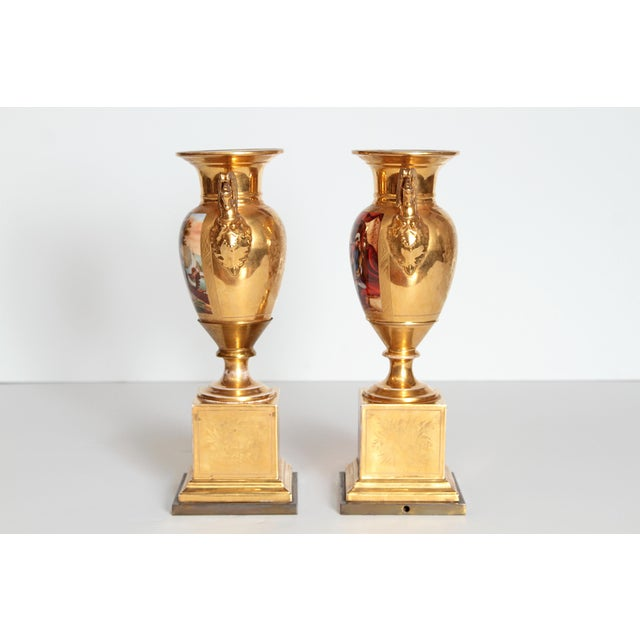 19th Century Pair of French Porcelain Gilt Urns With Scenes For Sale - Image 10 of 13
