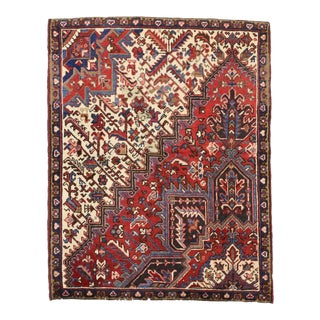 Vintage Persian Heriz Rug with Traditional Modern Style, Wagireh Rug For Sale