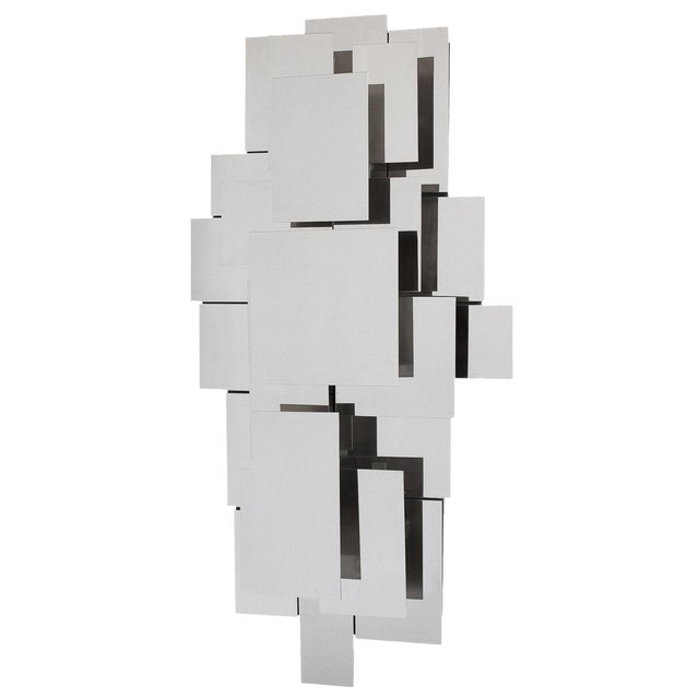 Polished Steel Wall-Light Sculpture or Sconce Attr. Reggiani For Sale