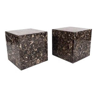 Pair of Marble Cube Tables For Sale