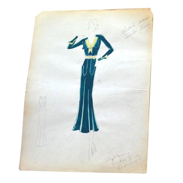 Edith Sparag 1930s Blue Dress Fashion Sketch For Sale