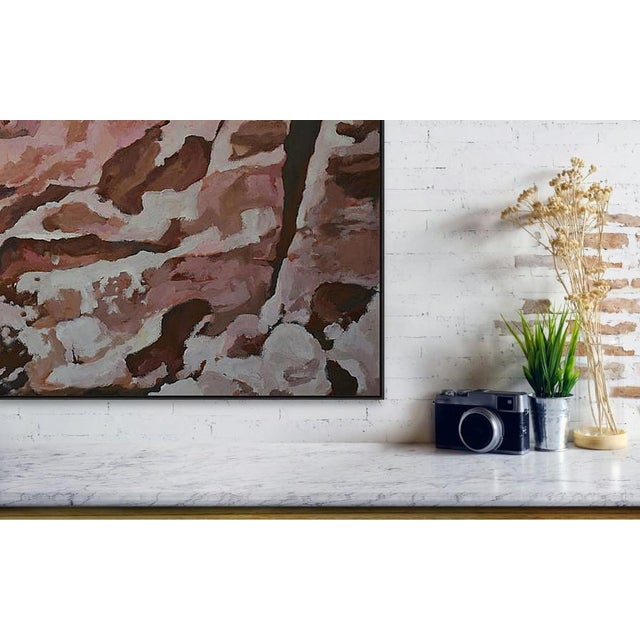 Abstract 'Boulders and Red-Rock Canyon Wall' - a Large Painting by American Expressionist, George Brinner For Sale - Image 3 of 4