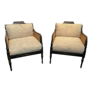 Cane Chinoiserie Lounge Chairs - a Pair For Sale