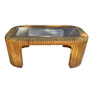 Mid Century Bamboo Coffee Table For Sale