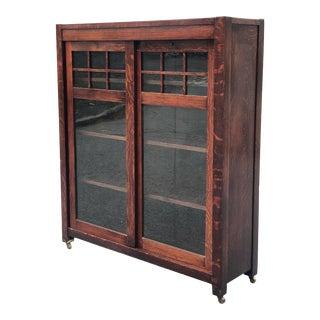 Antique Arts & Crafts Quartersawn Mission Oak Sliding Door Bookcase For Sale