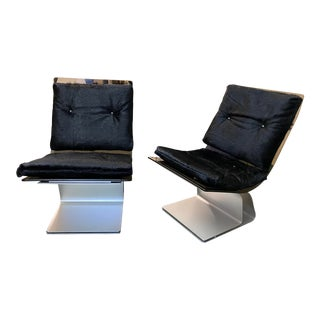 1970's Maison Jansen Smoked Glass + Steel Easy Chairs + Full Hair Hide Cushions, a Pair For Sale