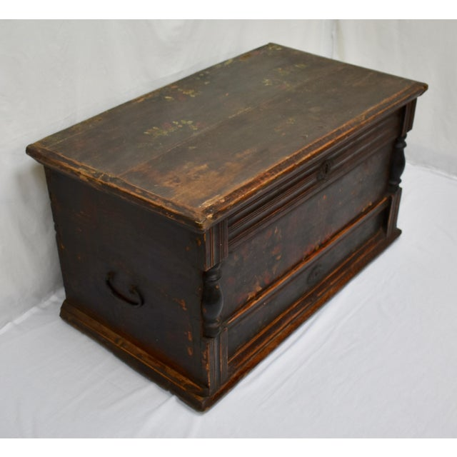 Baroque Painted Pine and Oak Trunk or Blanket Chest in Original Paint For Sale - Image 3 of 13