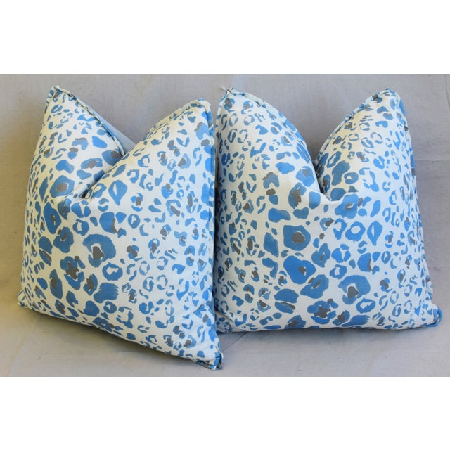 """Pindler & Pindler Leopard Animal Spot & Velvet Feather/Down Pillows 20"""" Square - Pair For Sale - Image 9 of 13"""