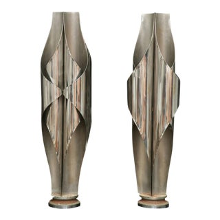 Rare Pair of Stainless Steel Sculptural Lamps by Louis Durot For Sale
