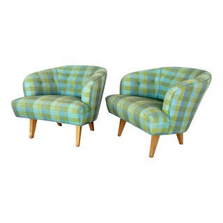 Pair of Modernist Barrel Back Club Lounge Chairs For Sale