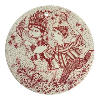 1970s Whimsical Björn Wiinblad Porcelain Wall Plaque For Sale