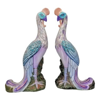 Pair Famille Rose Phoenix Statues or Figurines Chinese Porcelain Vintage For Sale