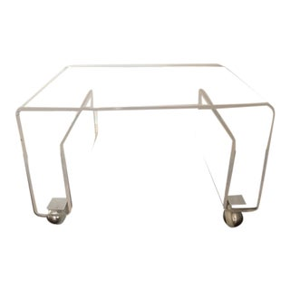 Lucite Side / Coffee Table With Magazine Rack on Wheels For Sale