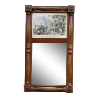 19th Century Federal Style Wooden Wall Mirror For Sale