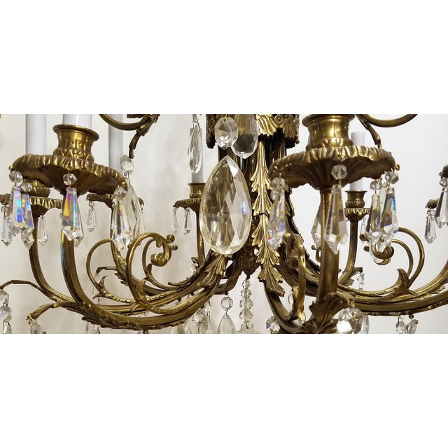 1920s Louis XVI Bronze & Crystal 12 Lights Chandelier For Sale - Image 9 of 10