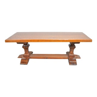 Antique French Country Style Oak Trestle Double Pedestal Dining Table For Sale