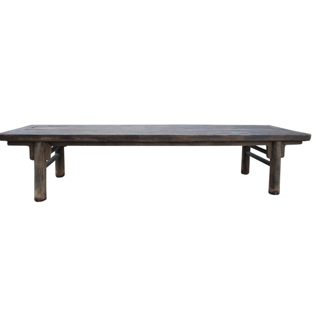 Primitive Rustic Distressed Farmhouse Harvest Dining Work Table For Sale - Image 4 of 4