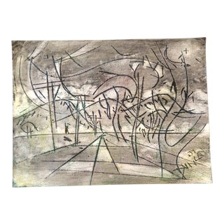 Original Vintage Outsider Artist Peter Duncan Abstract Encaustic/Oil Painting Signed For Sale